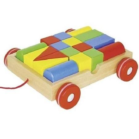 Wózek do ciągnięcia z klockami - drewniany zestaw klocki + wagonik, GOKI 58558
