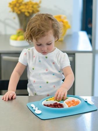 Zestaw do jedzenia  - talerz dla dzieci z matą antypoślizgową + widelec i łyżka, Mate Blue, SKIP HOP