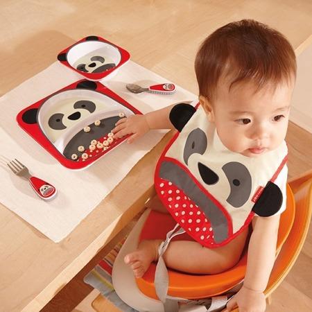Zestaw jedzeniowy dla dzieci talerz dzielony + miska - naczynia dla maluchów Zoo Miś Panda, SKIP HOP