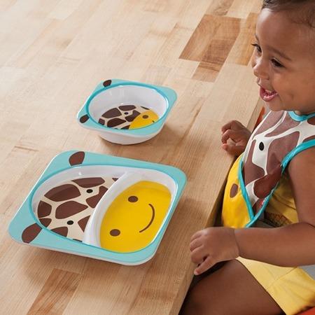 Zestaw jedzeniowy dla dzieci talerz dzielony + miska - naczynia dla maluchów Zoo Żyrafa, SKIP HOP