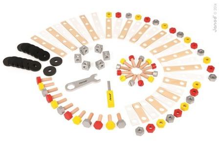 Zestaw konstruktora 100 elementów, Janod - klocki, narzędzia dla majsterkowicza