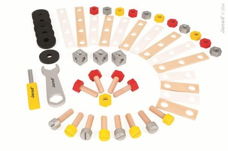 Zestaw konstruktora 50 elementów, Janod - klocki, narzędzia do budowania drewnianych konstrukcji, pojazdów, dla majsterkowicza