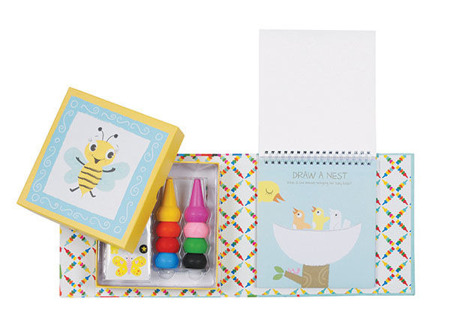 Zestaw kreatywny - kredki na palec 8 szt, kolorowanka, naklejki w ozdobnym pudełku, Tiger Tribe TT-60216